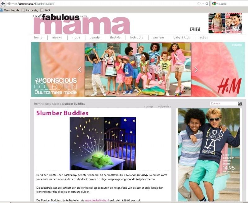Slumber Buddies op Fabulousmama.nl (maart 2013)