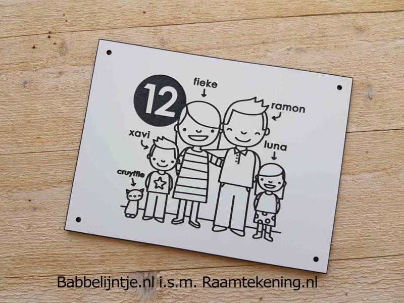 Huisnummerbordje voor Fieke, Ramon, Luna, Xavi en de kat!