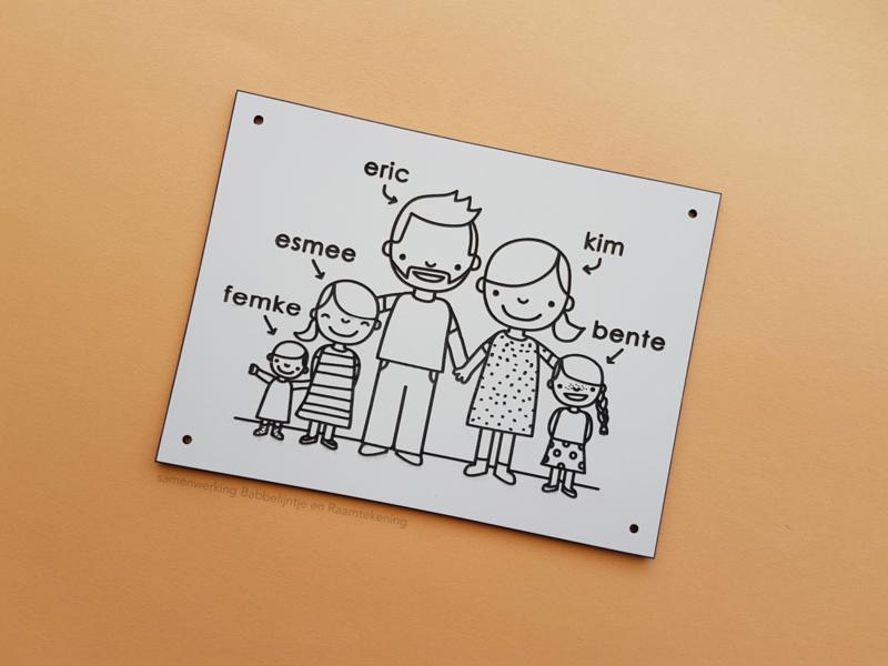 Huisnaambordje met familie tekening