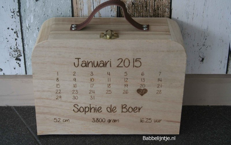 Geboortekoffertje Kalender