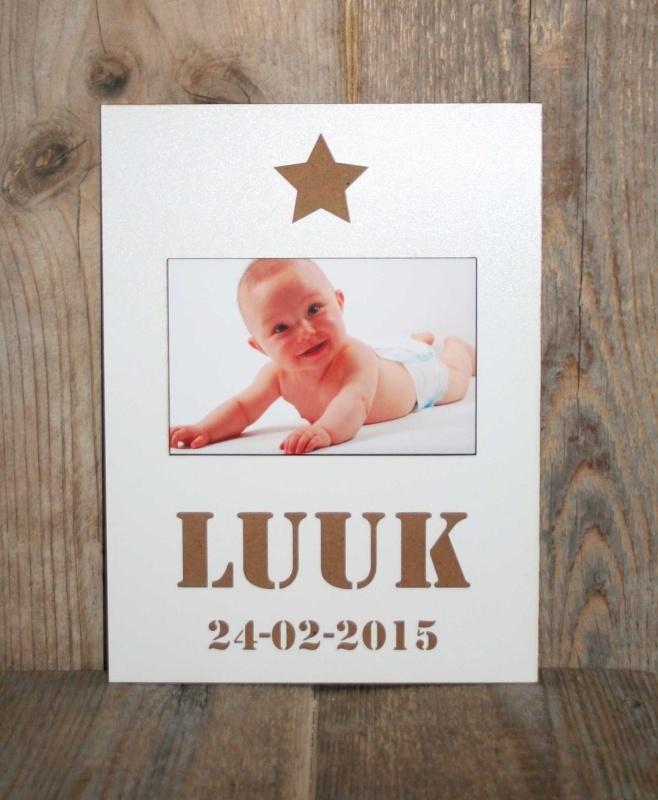 Fotolijstje met naam en geboortedatum Ster