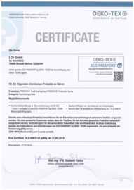 Environmental certificate for Puratex® textile protector