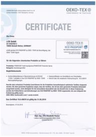 Milieu certificaat voor Puratex® impregneer voor stoffen