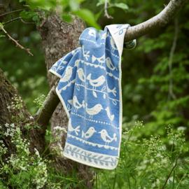 Birds- chenille katoen blue