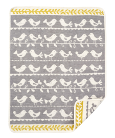 Birds- chenille katoen grijs