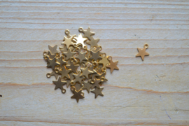 RVS Gold plated bedel ster ca. 9 x 10 mm per stuk