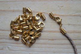 RVS Gold plated einddopjes met karabijnsluiting  ca. 4 x 33 mm per stuk