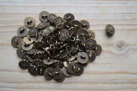 Bronskleurige knoop 'bloem' ca. 10 mm per 2 stuks