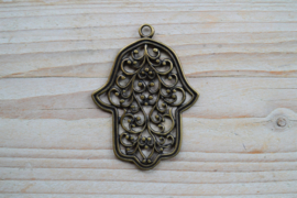 Bronskleurige hanger hand sierlijk ca. 52 x 71 mm