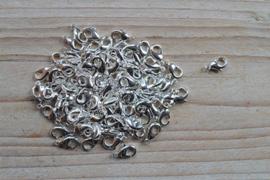 Metalen karabijnsluiting verzilverd ca. 7 x 12 mm per 5 stuks