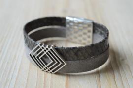 DIY Pakket Armband met magneet en schuiver Grijs/Antraciet