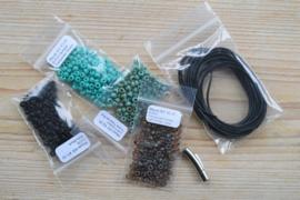 Diy Pakket Armband E 3-Wikkelarmband Turquoise/Zwart