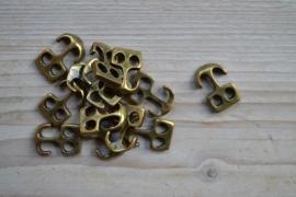Bronskleurige leer anker medium ca. 15 x 22 mm per stuk