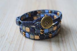 3-fach Wickelarmband Blau/Gold