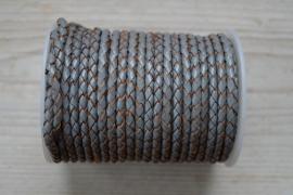 Rundgeflochtenes leder 4 mm Grau pro 10 cm
