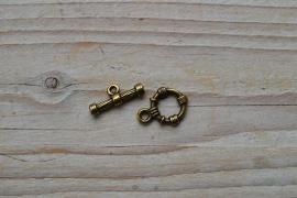 Bronskleurige kapittelsluiting ca. 15 x 20 mm (ring) per 2 setjes