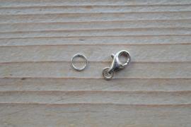 Karabijnsluiting sterling zilver middel ca. 8 x 11 mm