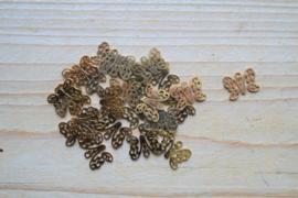 RVS Gold plated bedel vlinder ca. 10 x 13 mm per stuk