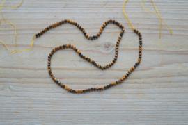 Tijgeroog gefacetteerde ronde kralen ca. 3 mm (seedbeads)