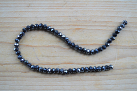 Kristalstreng grijsblauw gefacetteerde rondellen 3 x 4 mm