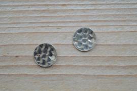 Tussenstuk sterling zilver Gehamerd ca. 12 mm per stuk