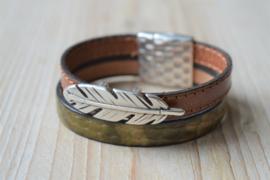 DIY Pakket Armband met magneet en schuiver Bruin/Groen