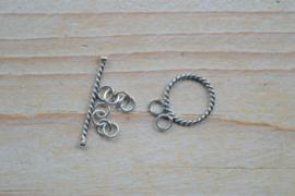 Kappitelsluiting sterling zilver gedraaid '2-rijen'  ca. 13 mm