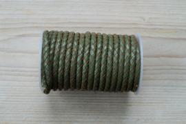 Rundgeflochtenes leder 5 mm Armee Grün pro 10 cm