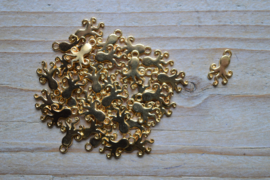 Goudkleurige bedel octopus ca. 9 x 15 mm per 3 stuks