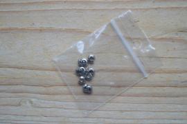 Metalen knijpkraalverbergers RVS  ca. 4 mm 10 stuks