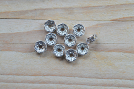 Rhinestone spacers ca. 8 mm (per 10 stuks)