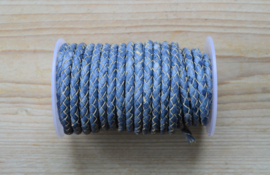 Rundgeflochtenes leder 5 mm Gemischt Blau pro 10 cm