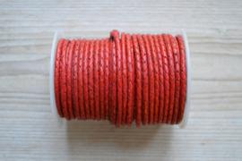 Rundgeflochtenes leder 4 mm Rot pro 10 cm