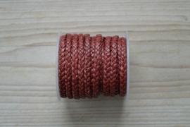 Plat gevlochten rundleer 5 mm Cherry per 10 cm