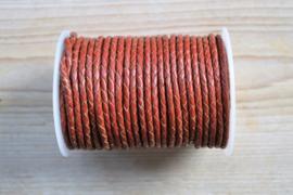 Rondgevlochten leer 4 mm Roodbruin per 10 cm
