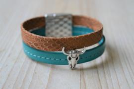 DIY Pakket Armband met magneet en schuiver Turquoise/Bruin