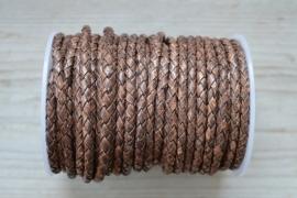 Rundgeflochtenes leder 4 mm Vintage Braun pro 10 cm