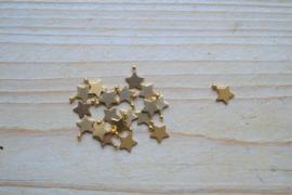 RVS Gold plated bedel ster ca. 8 x 10 mm per stuk