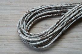 Rond nappaleer Slangeprint 4 mm Lichtgrijs/Bruin/Zilver per 10 cm