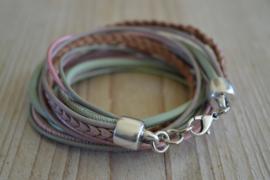 Leather Wrap XL Mint/Roze