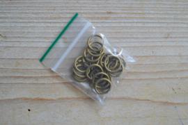 Bronskleurige ringetjes open 12 mm ca. 20 stuks