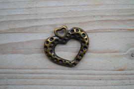 Bronskleurige hanger hart open ca. 40 x 44 mm