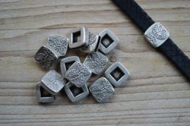 Metalen Lederschieber 10 mm ca. 15 X 15 mm pro stück