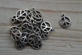 Metalen charm `peace` ca. 15 x 19 mm pro 3 stück