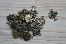 Bronskleurige bedel levensboom ca. 17 x 22 mm per 2 stuks