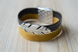 DIY Pakket Armband met magneet en schuiver Zwart/Geel