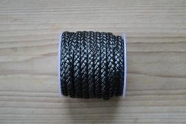 Plat gevlochten rundleer 5 mm Metallic Hematiet per 10 cm