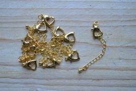 Goudkleurig karabijnslotje Hart ca. 12 mm per stuk