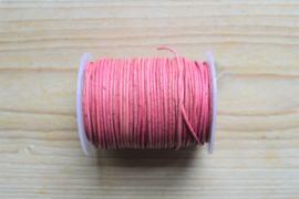 Rundleer 1 mm Vintage Roze per meter