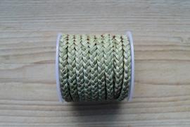 Plat gevlochten rundleer 5 mm Vintage Lichtgroen per 10 cm